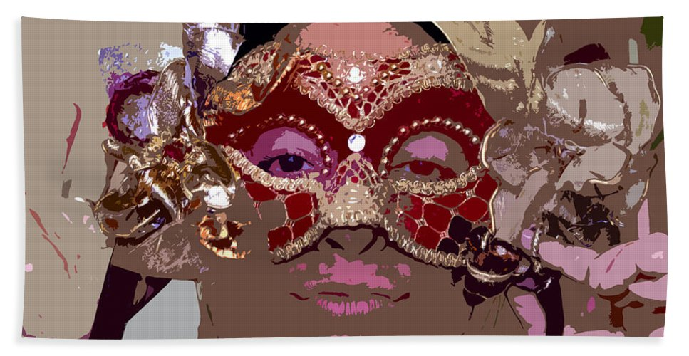 Mask Bath Sheet featuring the painting Lady Behind The Mask by David Lee Thompson