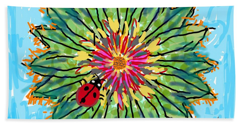 Flowers Colorful Insects Lady Bug Bath Sheet featuring the digital art Lady Bug On Flower by David R Keith