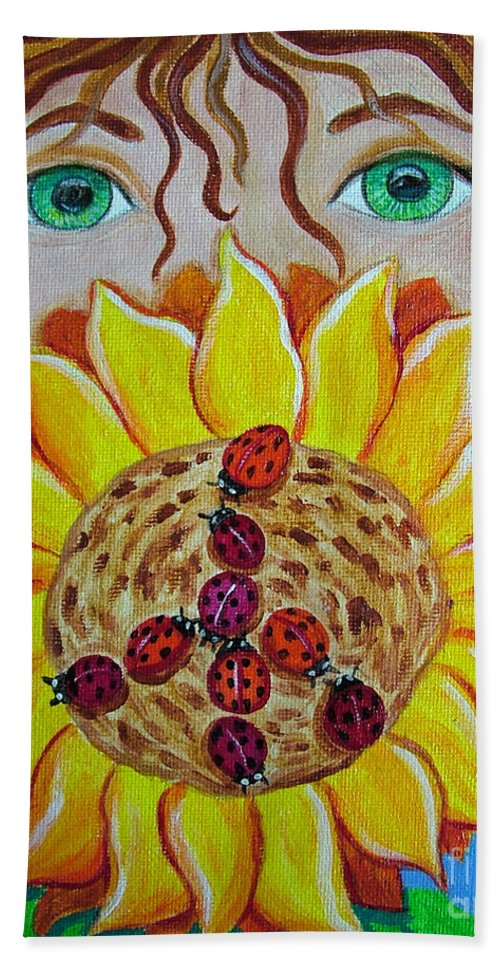 Lady Bug Bath Sheet featuring the painting Lady Bug Peace by Nick Gustafson