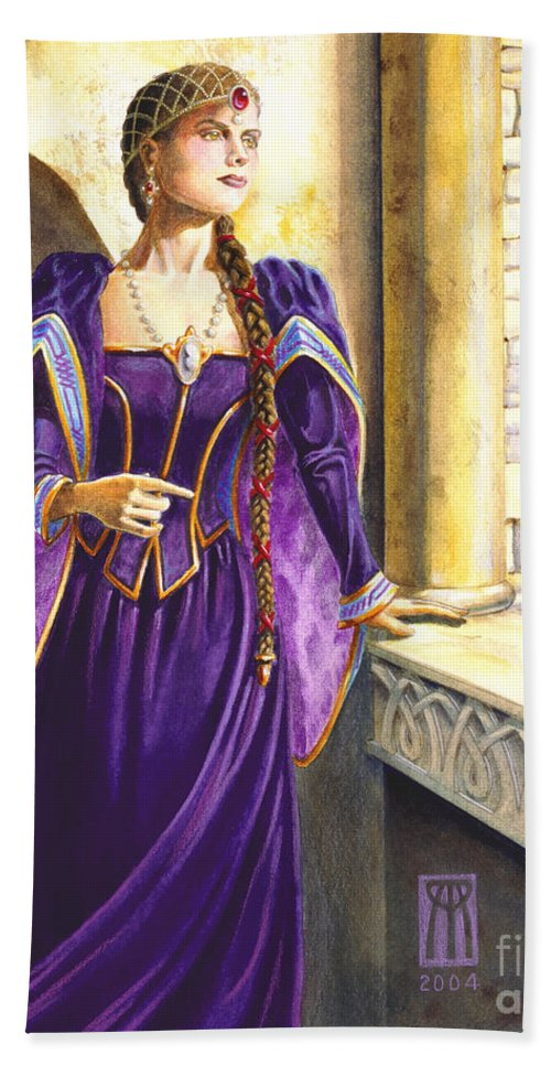Camelot Hand Towel featuring the painting Lady Ettard by Melissa A Benson