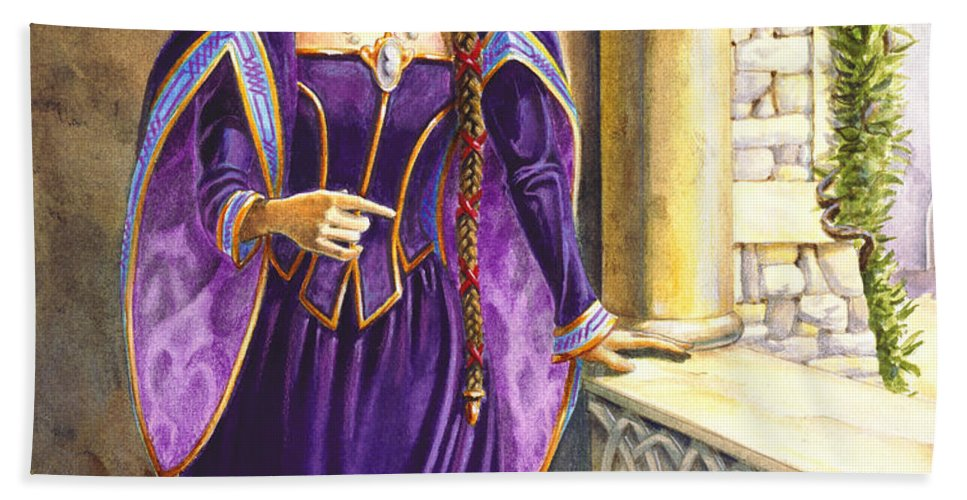 Camelot Bath Towel featuring the painting Lady Ettard by Melissa A Benson
