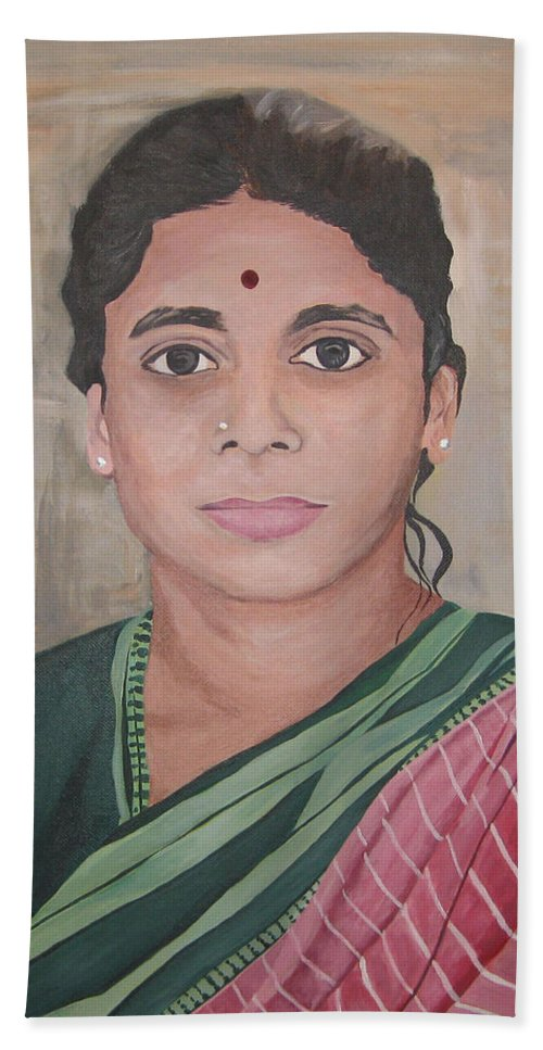 Portrait Of Lady From India Hand Towel featuring the painting Lady From India by Stella Sherman