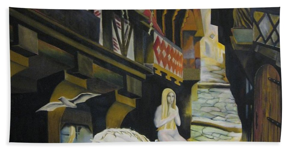 Hand Towel featuring the painting Lady Godiva by Ronnie Lee