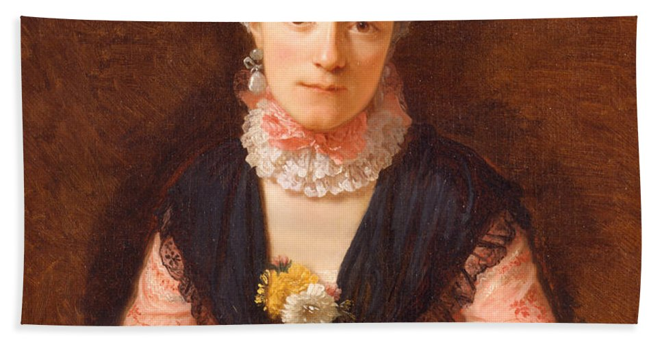 Allan Ramsay Hand Towel featuring the painting Lady In A Pink Silk Dress by Allan Ramsay