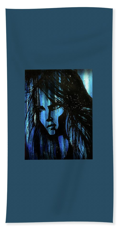 Lady Bath Sheet featuring the painting Lady In Blue by Carolyn Anderson