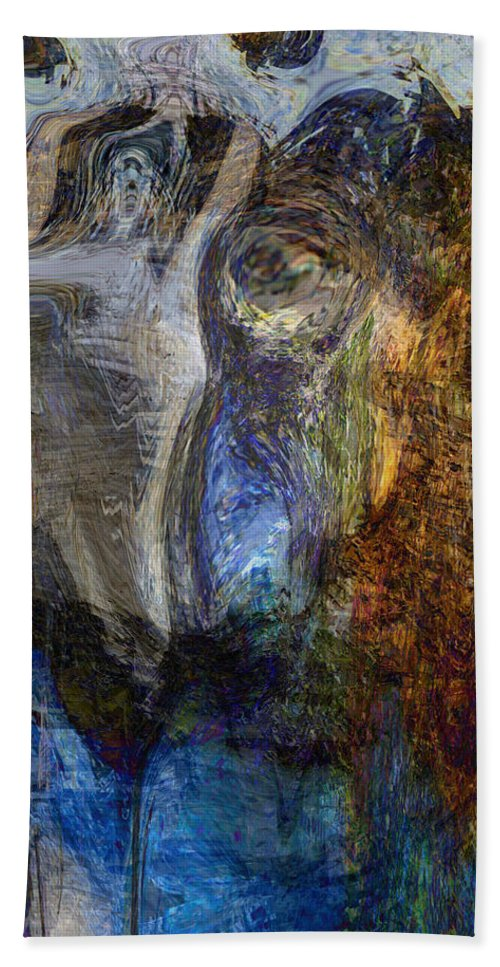 Abstract Art Hand Towel featuring the digital art Lady In Blue by Linda Sannuti