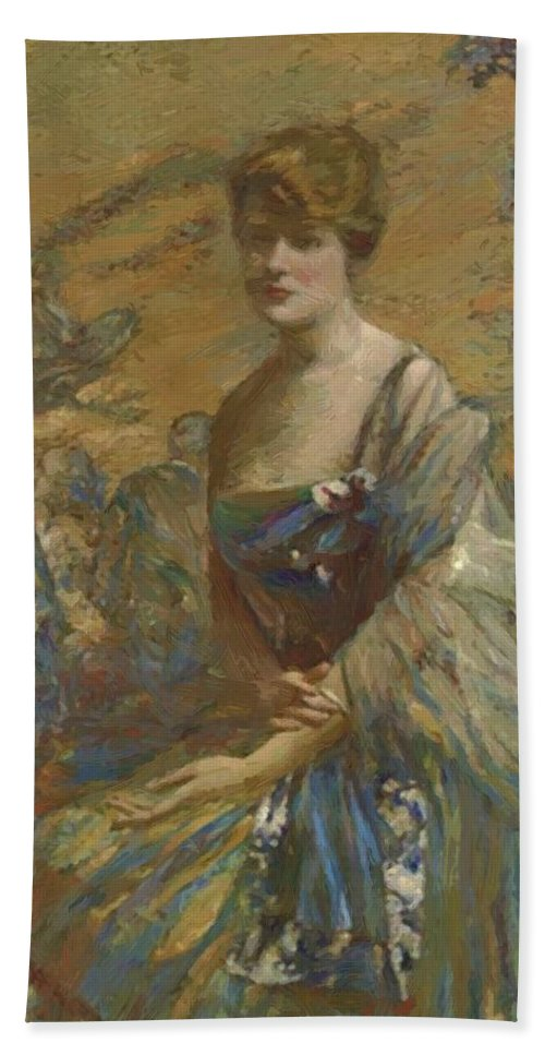 Lady Hand Towel featuring the painting Lady In Blue by Reid Robert Lewis
