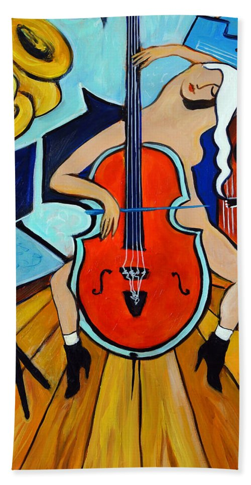 Musicians Bath Towel featuring the painting Lady In Red by Valerie Vescovi