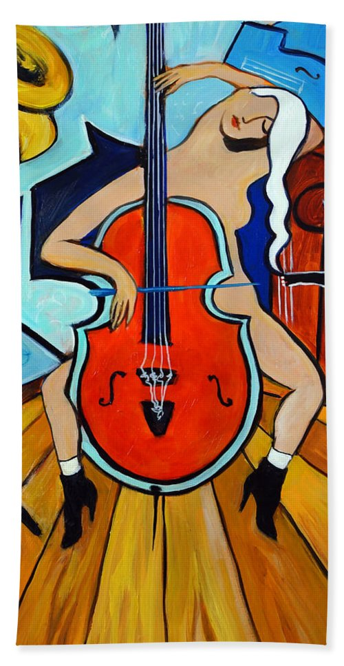 Musicians Hand Towel featuring the painting Lady In Red by Valerie Vescovi