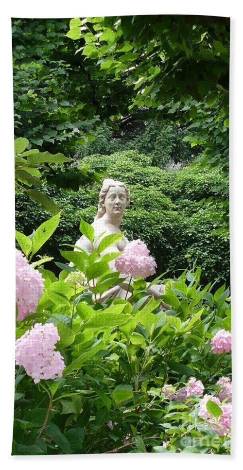 Garden Bath Sheet featuring the photograph Lady In Salzburg Garden by Carol Groenen