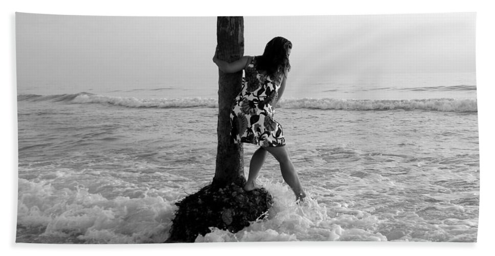 Beach Hand Towel featuring the photograph Lady In The Surf by David Lee Thompson