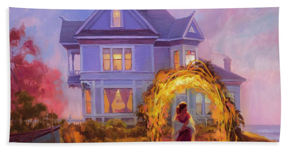 Woman Hand Towel featuring the painting Lady In Waiting by Steve Henderson
