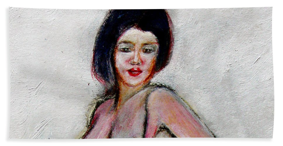 Lady Hand Towel featuring the painting Lady Jane With Red Lipstick by Tom Conway