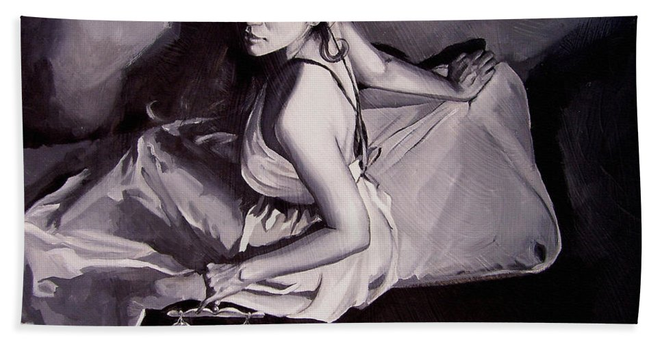 Law Art Bath Sheet featuring the painting Lady Justice black and white by Laura Pierre-Louis