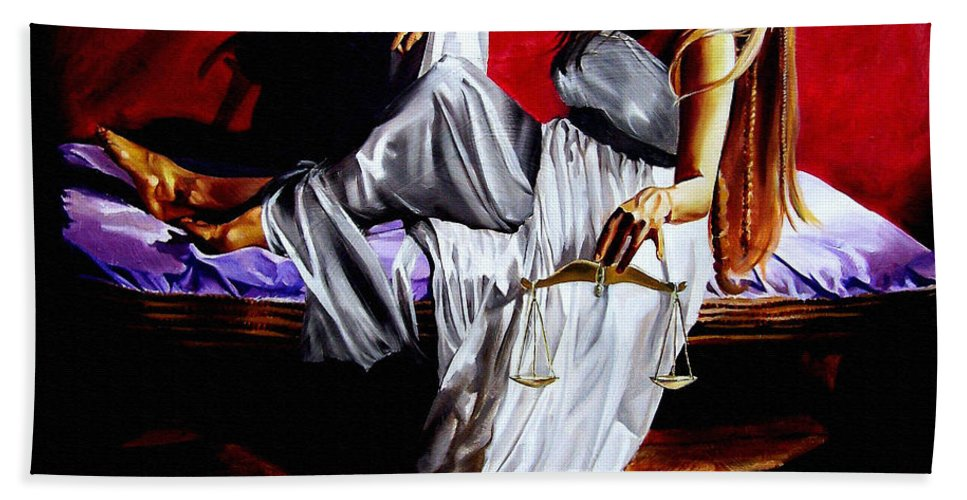 Law Art Bath Sheet featuring the painting Lady Justice by Laura Pierre-Louis