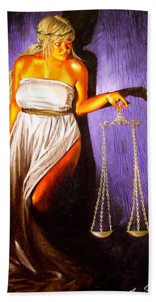 Law Hand Towel featuring the painting Lady Justice Long Scales by Laura Pierre-Louis