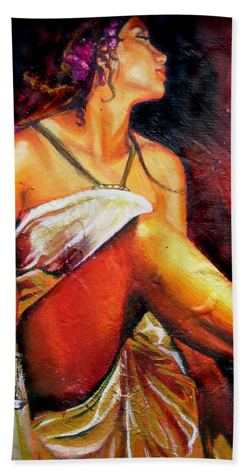 Law Art Bath Towel featuring the painting Lady Justice mini by Laura Pierre-Louis