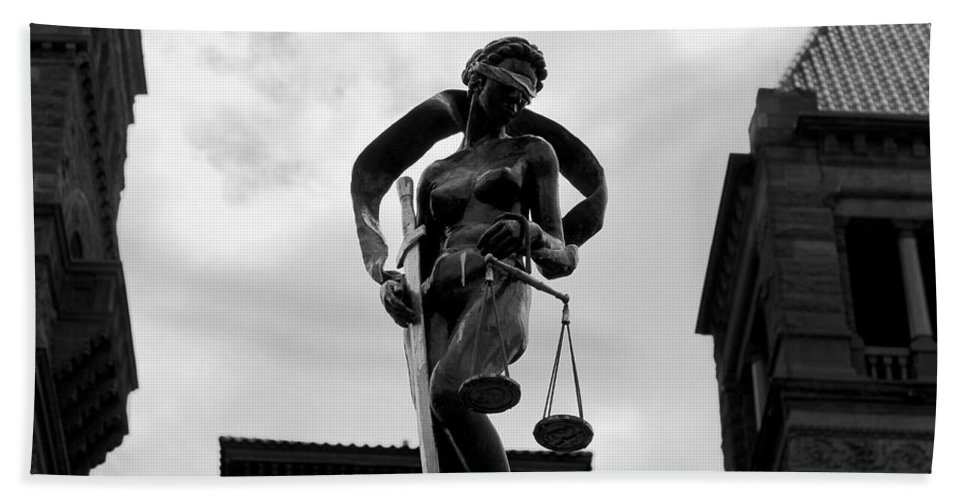 North Hand Towel featuring the photograph Lady Justice by Nicholas Miller
