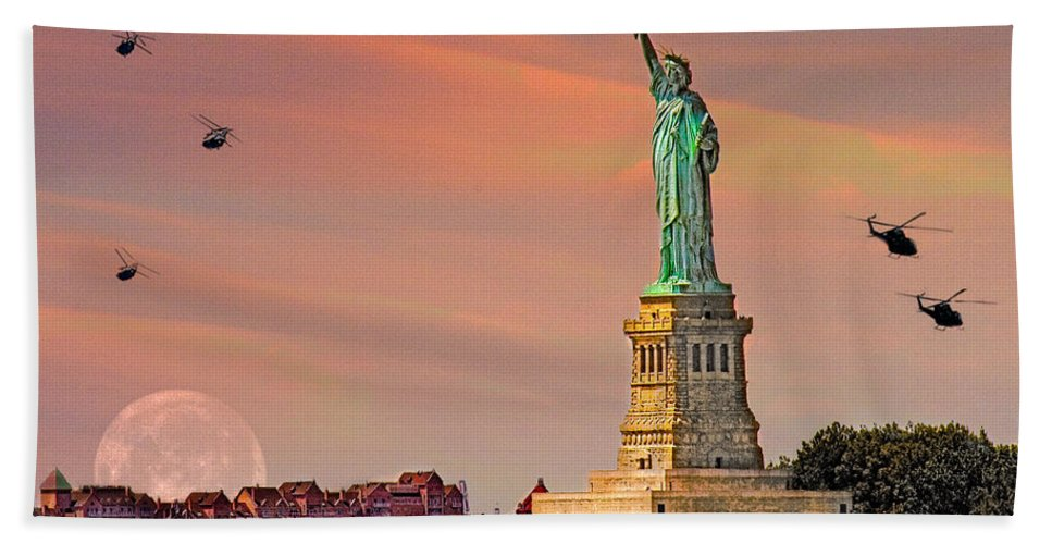 Moon Hand Towel featuring the photograph Lady Liberty by Chris Lord