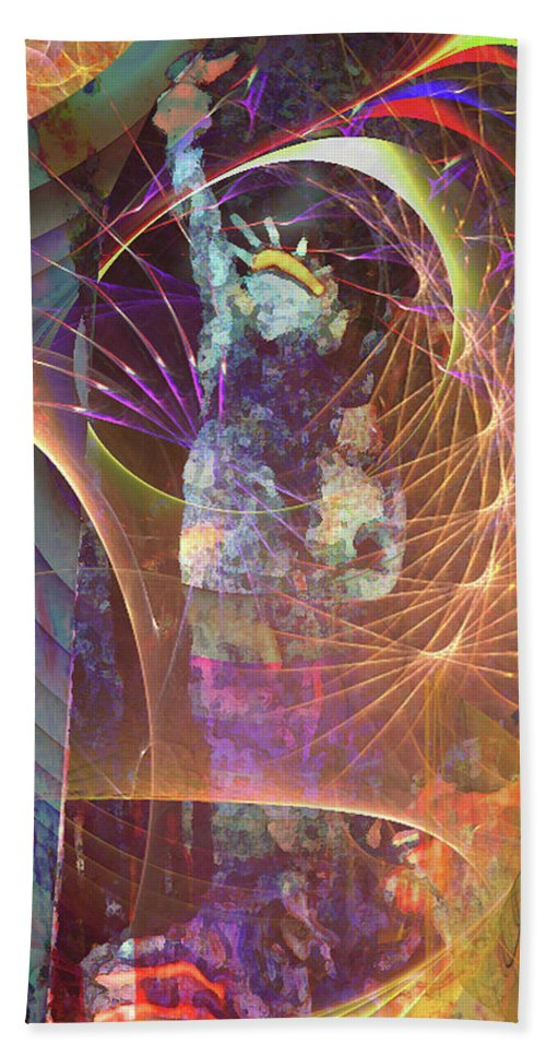 Lady Liberty Hand Towel featuring the digital art Lady Liberty by John Beck