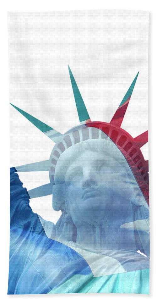 Usa Bath Sheet featuring the photograph Lady Liberty With French Flag by Jaroslav Frank