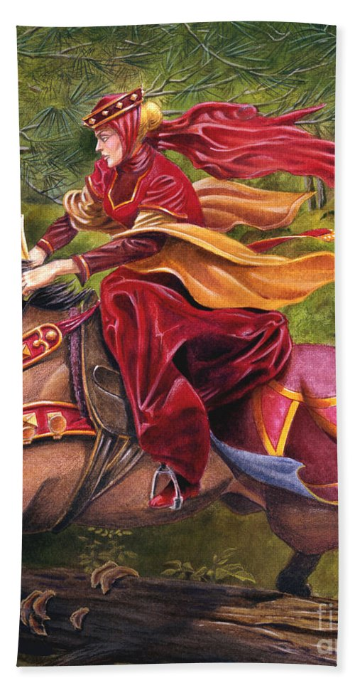 Camelot Hand Towel featuring the painting Lady Lunete by Melissa A Benson