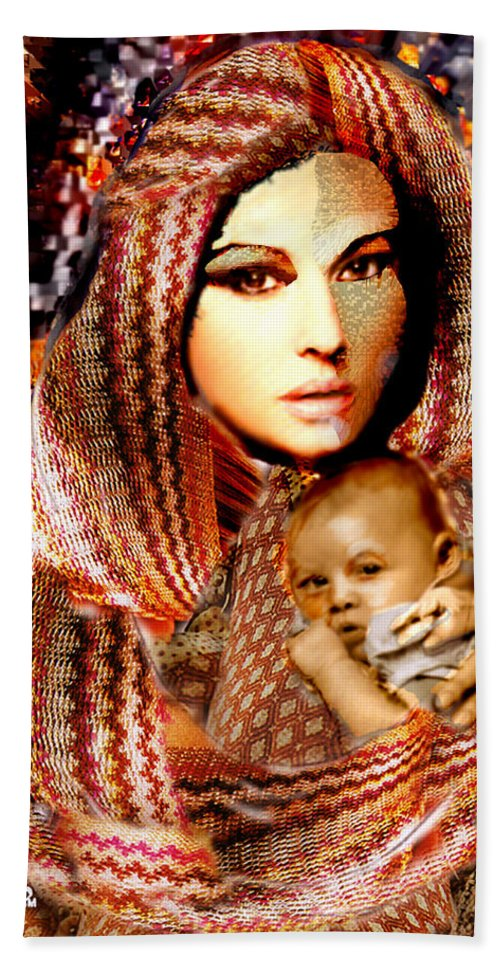 Ladyt Madonna Hand Towel featuring the digital art Lady Madonna by Seth Weaver