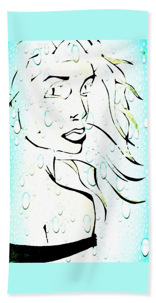 Woman Hand Towel featuring the drawing Lady Of The Water by Jason Freed