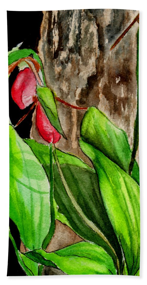 Watercolor Hand Towel featuring the painting Lady Slippers by Brenda Owen