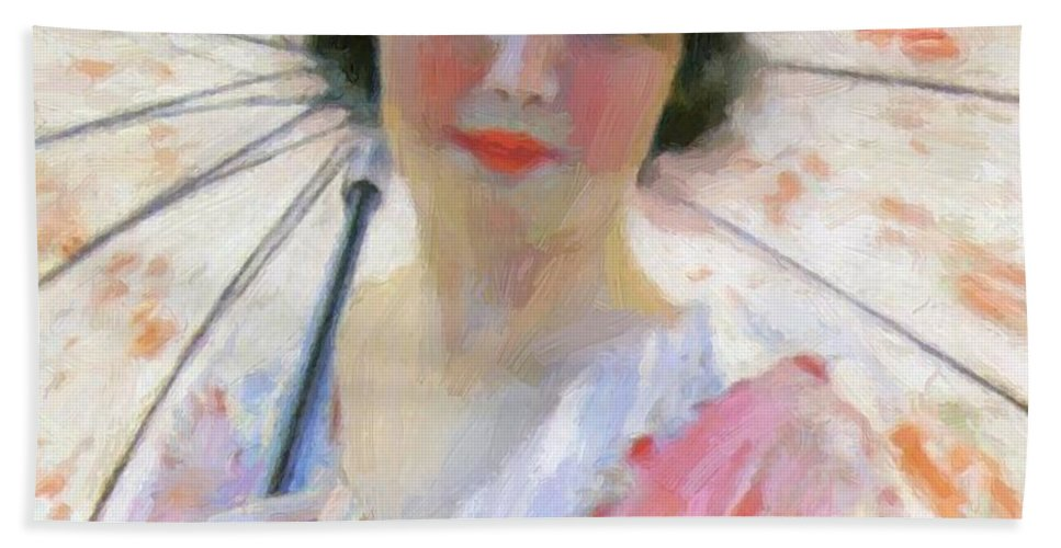 Lady Hand Towel featuring the painting Lady With A Parasol 1921 by Reid Robert Lewis