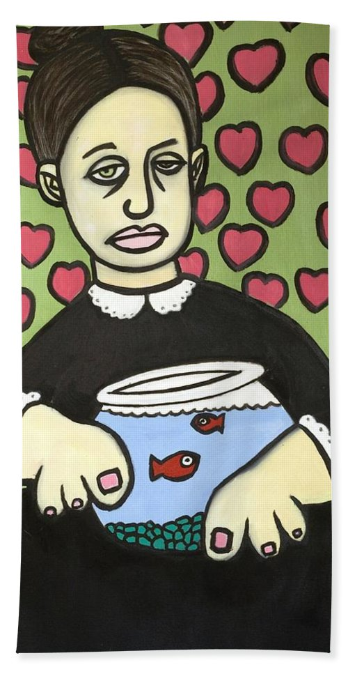 Hand Towel featuring the painting Lady With Fish Bowl by Thomas Valentine