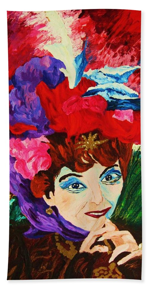 Red Hats Bath Towel featuring the painting Lady With The Red Hat by Carole Spandau