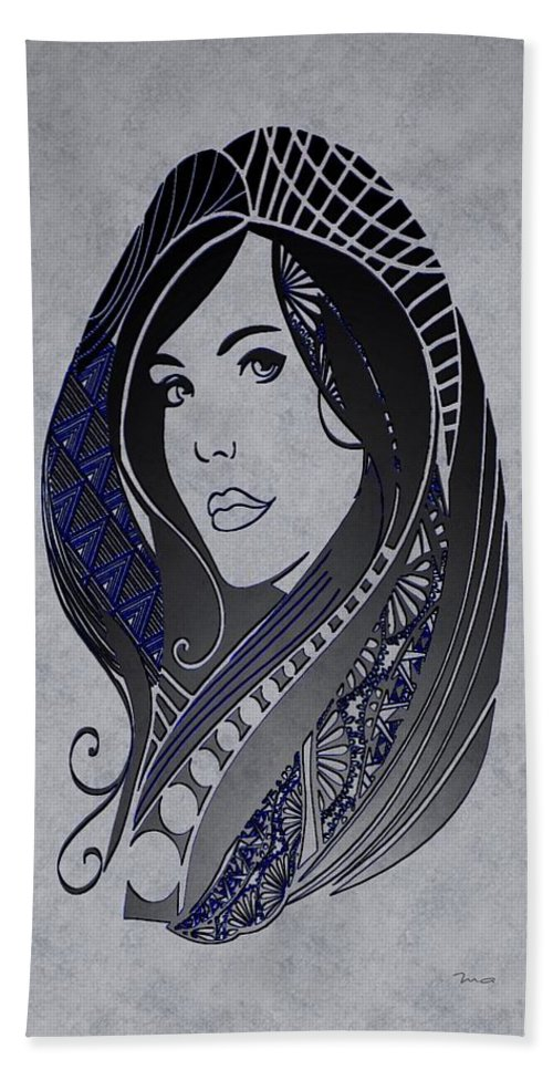 lady Zen Hand Towel featuring the painting Lady Zen by Mark Taylor