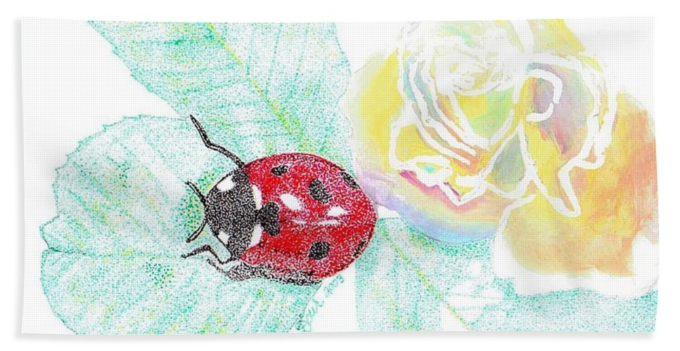 Rose And Ladybug Bath Towel featuring the drawing Ladybug by Joanne Dour
