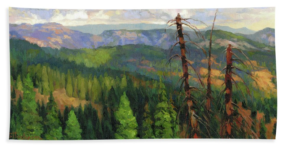 Wilderness Bath Towel featuring the painting Ladycamp by Steve Henderson