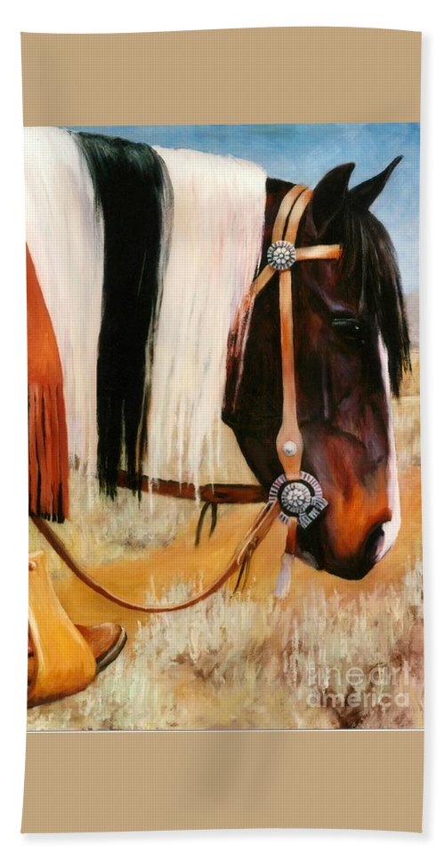 Paint Bath Sheet featuring the painting Ladys Jewels Horse Painting Portrait by Kim Corpany