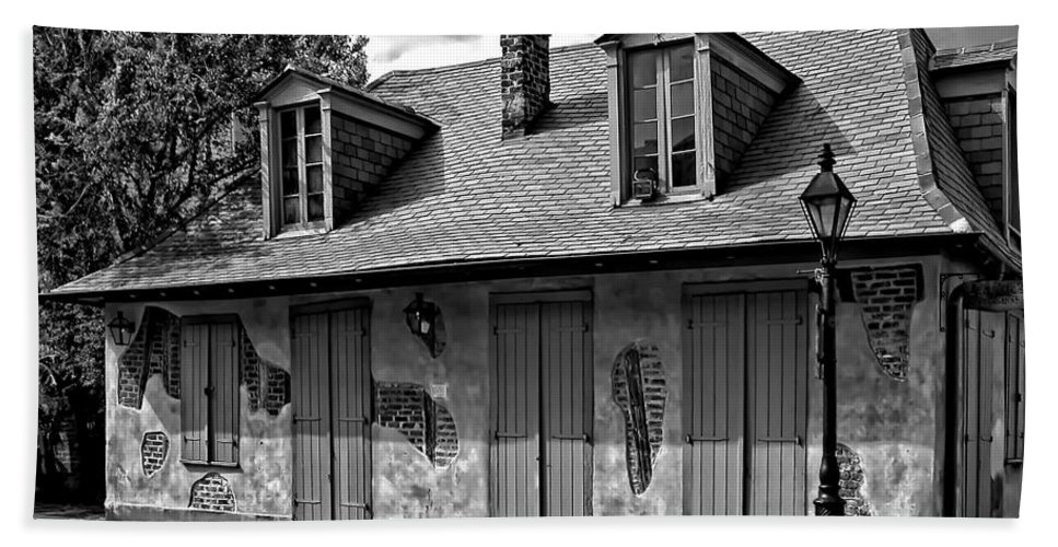 New Orleans Louisiana Bath Sheet featuring the photograph Lafittes Blacksmith Shop Bar In Black And White by Kathleen K Parker