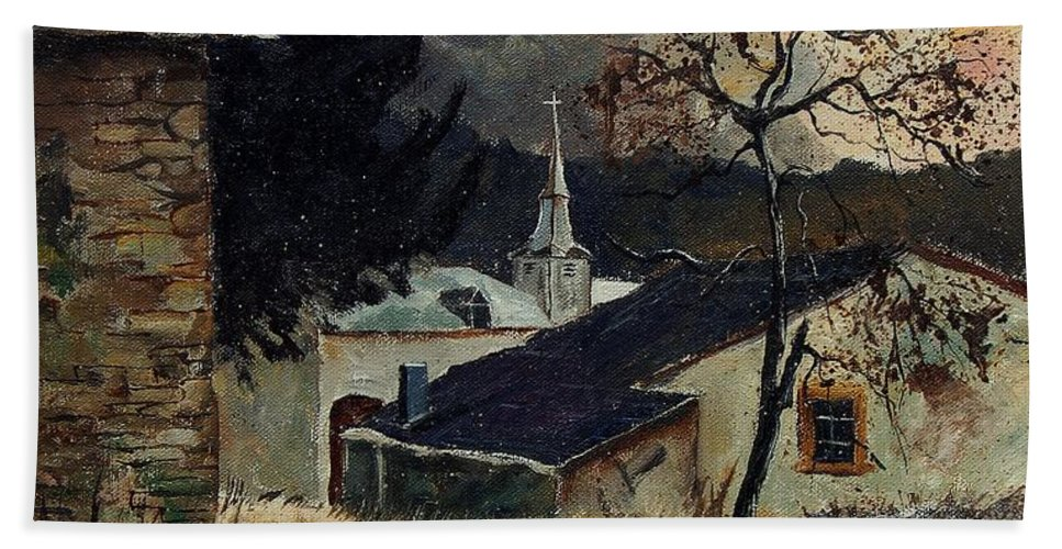 Tree Bath Towel featuring the painting Laforet Ardennes Village by Pol Ledent