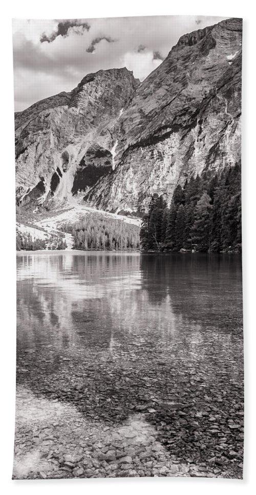 A Un Passo Dal Cielo Hand Towel featuring the photograph Lago Di Braies by Alfio Finocchiaro