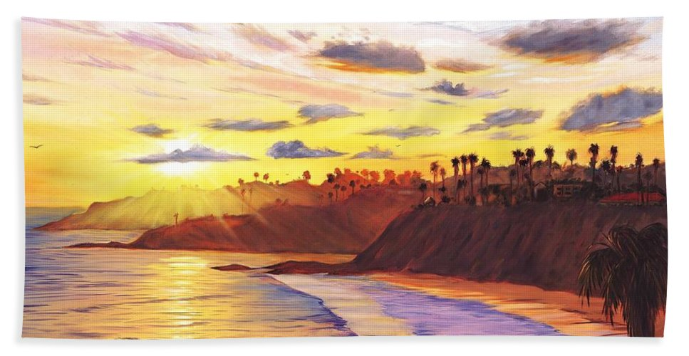 Laguna Beach Hand Towel featuring the painting Laguna Village Sunset by Steve Simon