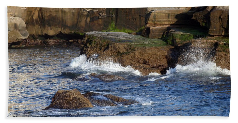 Ocean Bath Sheet featuring the photograph Lajolla Rocks by Margie Wildblood