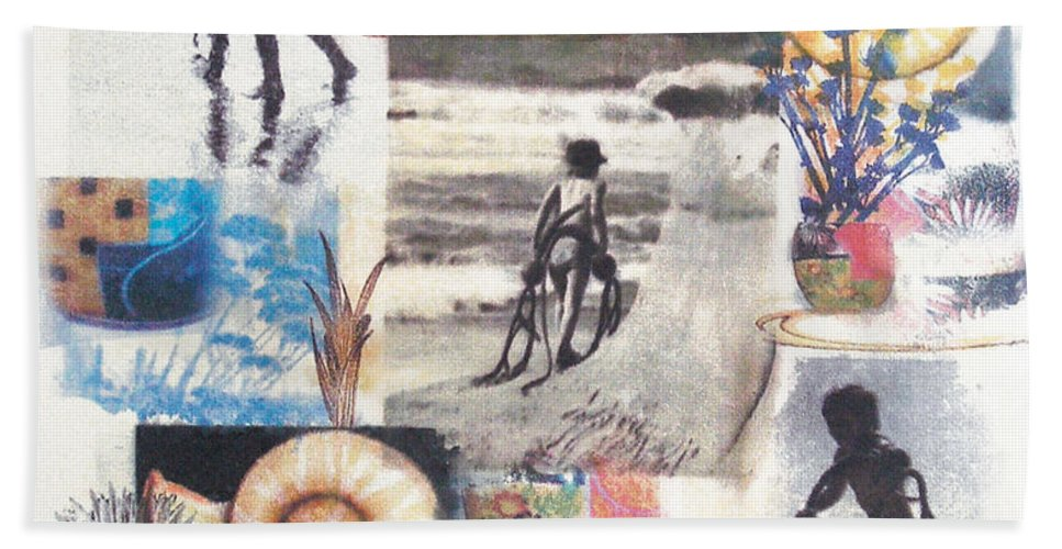 Abstract Hand Towel featuring the painting Lajolla by Valerie Meotti