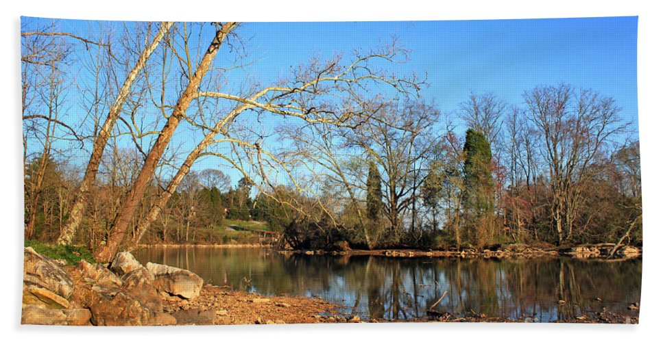 Landscape Bath Sheet featuring the photograph Lake And Trees In Early Spring by Todd Blanchard
