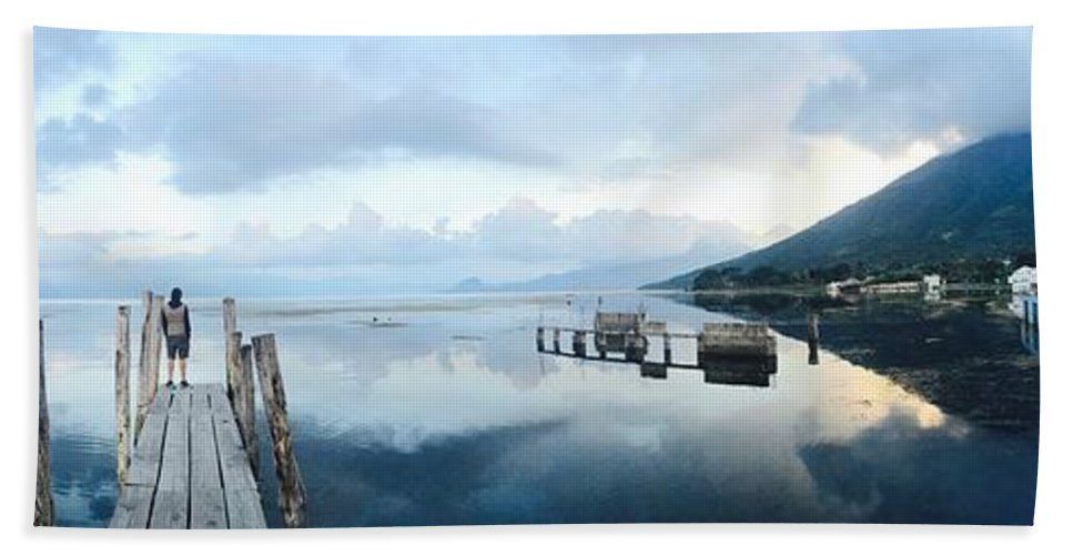 Panoramic Bath Sheet featuring the photograph Lake Atitlan, Guatemala by Manel Hernandez