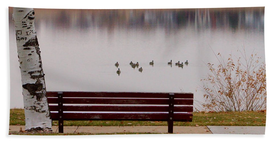 Aspen Hand Towel featuring the photograph Lake Bench by James BO Insogna