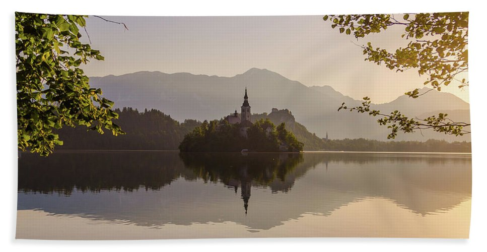 Beautiful Bath Sheet featuring the photograph Lake Bled At Sunrise by Travel and Destinations - By Mike Clegg