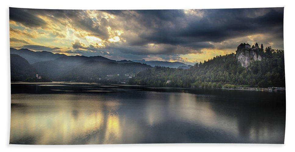 Lake Bath Sheet featuring the photograph Lake Bled Sunset by Ceri Jones