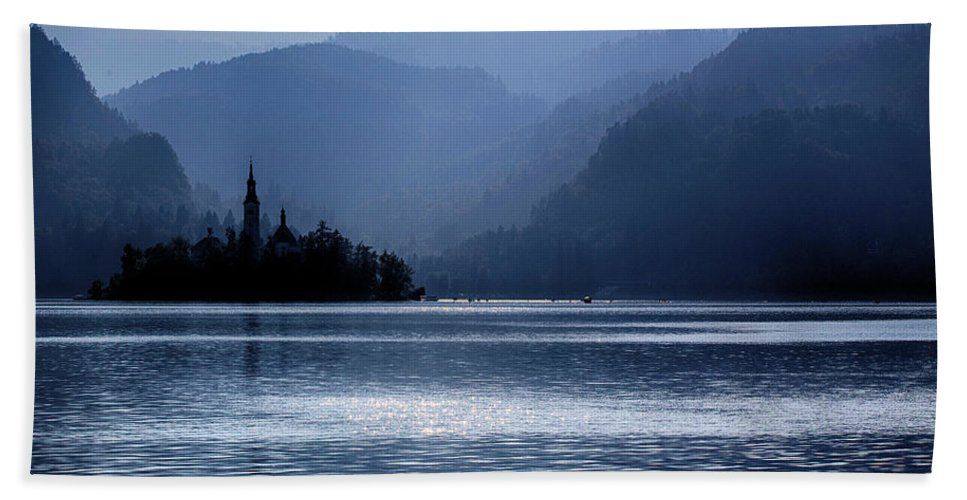 Lake Bath Sheet featuring the photograph Lake Bled Twilight by Ceri Jones