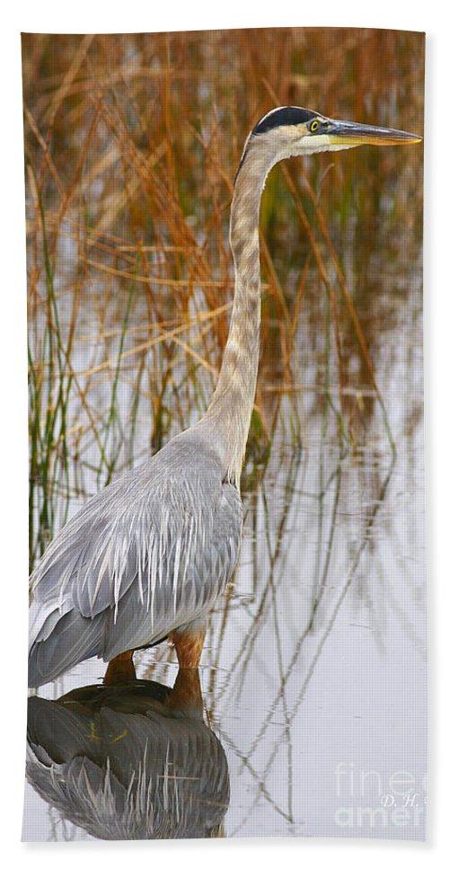Blueheron Bath Sheet featuring the photograph Lake Carmi Visitor by Deborah Benoit
