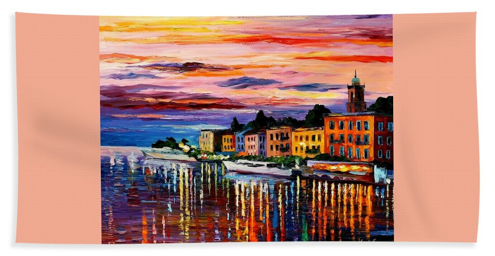Cityscape Bath Sheet featuring the painting Lake Como - Bellagio by Leonid Afremov